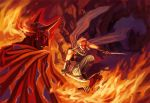 cape cave dual_wielding edward_geraldine final_fantasy final_fantasy_iv fire horns katana kneeling male rubicante scarf sword weapon
