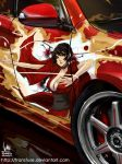 breasts car cleavage itasha ivan_flores japanese_clothes kurenai_(red_ninja) motor_vehicle ninja red_ninja vehicle
