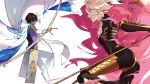 2boys 676643396dolce agni_gandiva arjuna_(fate/grand_order) bodysuit bow_(weapon) brown_hair cape dark_skin dark_skinned_male drawing_bow fate/apocrypha fate/grand_order fate_(series) fighting fur_cape gloves highres holding holding_bow_(weapon) holding_weapon karna_(fate) multiple_boys pale_skin polearm spear weapon white_cape white_gloves white_hair