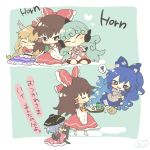 ! +_+ 5girls :3 artist_logo blonde_hair blue_bow blue_eyes blue_hair blue_skirt bow bowl bowl_hat bowtie bracelet broom brown_hair chibi closed_eyes cup curly_hair dango debt detached_sleeves food green_background green_hair grey_hoodie hair_bow hair_tubes hakurei_reimu hands_up hat heart holding holding_broom holding_cup horn horns ibuki_suika japanese_clothes jewelry kimono komano_aun long_hair multiple_girls open_mouth paw_pose red_bow red_eyes red_neckwear red_shirt red_skirt sanshoku_dango shirt short_sleeves shorts skirt smile socks spoken_exclamation_mark sukuna_shinmyoumaru tearing_up touhou translation_request very_long_hair wagashi white_footwear white_shirt white_shorts yellow_neckwear yorigami_shion yoshishi_(yosisitoho) yunomi