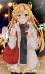 1girl absurdres abukuma_(kantai_collection) alternate_costume bag bangs beige_skirt black_legwear black_sweater blonde_hair blue_eyes blurry commentary_request depth_of_field double_bun gift grey_jacket hair_between_eyes hair_rings highres jacket ka_tsumi kantai_collection long_hair looking_at_viewer night outdoors pantyhose photo_background pleated_skirt skirt solo sweater twitter_username