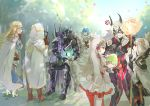 1other 2boys 4girls alfonse_(fire_emblem) anger_vein animal_ears armor blonde_hair blue_hair braid brown_gloves cape crown crown_braid domino_mask dress easter_egg egg fake_animal_ears fire_emblem fire_emblem_heroes from_behind from_side gloves green_eyes grey_hair hair_ornament highres holding holding_staff hood hood_up horns hukashin kiran_(fire_emblem) lif_(fire_emblem) long_hair long_sleeves mask multiple_boys multiple_girls multiple_persona rabbit_ears red_eyes sharena short_dress short_hair sitting staff thrasir_(fire_emblem) veronica_(fire_emblem) white_legwear