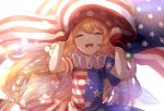 1girl american_flag american_flag_dress arms_up blonde_hair blurry bokeh closed_eyes clownpiece commentary_request depth_of_field facing_viewer fairy_wings flag hat highres holding holding_flag jester_cap light_particles long_hair mozuno_(mozya_7) neck_ruff open_mouth polka_dot_hat simple_background solo standing touhou upper_body upper_teeth very_long_hair white_background wings