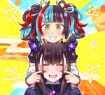2girls amethyst_(gemstone) black_dress black_hair black_nails black_sailor_collar blue_hair blush cheek_pull closed_eyes double_bun dress embarrassed emotional_engine_-_full_drive eyewear_hang eyewear_removed fate/grand_order fate_(series) fingersmile forced_smile gem jacket juliet_sleeves long_hair long_sleeves mabo-udon multicolored_hair multiple_bows multiple_girls murasaki_shikibu_(fate) off-shoulder_jacket parody puff_and_slash_sleeves puffy_sleeves redhead sailor_collar sei_shounagon_(fate) smile sweat sweatdrop two_side_up upper_body very_long_hair white_jacket yellow_background yellow_eyes