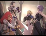 2boys 2girls abs balthus_(fire_emblem) belt black_eyes black_footwear black_hair blonde_hair blue_legwear boots bracelet breasts chain clenched_hand coat constance_von_nuvelle cropped_jacket dark_skin drill_hair fan fire_emblem fire_emblem:_three_houses folding_fan garreg_mach_monastery_uniform gauntlets gonzarez hair_slicked_back hairband hand_on_hip hand_on_own_knee hapi_(fire_emblem) high-waist_skirt indoors jacket jewelry light_particles long_hair long_sleeves looking_at_viewer medium_breasts midriff miniskirt multicolored_hair multiple_boys multiple_girls muscle navel one_eye_closed open_clothes open_coat open_mouth pants parted_lips profile purple_hair red_eyes redhead scabbard scarf sheath sheathed short_hair side_drill single_thighhigh sitting skirt standing sword thigh-highs thigh_boots thighhighs_under_boots two-tone_hair violet_eyes weapon white_coat white_jacket white_pants white_skirt yuri_(fire_emblem) zettai_ryouiki