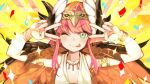 1girl ;p blush brown_wings circe_(fate/grand_order) fate/grand_order fate_(series) feathered_wings head_wings highres long_hair looking_at_viewer multicolored multicolored_eyes nada_haruka one_eye_closed parody pink_hair pointy_ears pose sei_shounagon_(fate) smile solo tongue tongue_out v_over_eye winged_hair_ornament wings