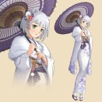 1girl absurdres animal_ears bear_ears blush commentary floral_print grey_hair hair_ornament highres itohara_(pixiv21490683) japanese_clothes kimono lips obi oriental_umbrella original personification print_kimono sash short_hair tabi umbrella white_kimono yukata