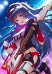 1girl :d black_gloves black_hair black_jacket black_shorts braid breasts cabbie_hat commentary_request cropped_jacket electric_guitar fishnet_legwear fishnets fukuro_ko_(greentea) gloves guitar hat highres hip_vent holding holding_instrument honkai_(series) honkai_impact_3rd instrument jacket leg_up long_hair looking_at_viewer medium_breasts midriff open_clothes open_jacket open_mouth partly_fingerless_gloves raiden_mei shirt shoes short_shorts short_sleeves shorts smile solo two_side_up very_long_hair violet_eyes white_shirt
