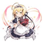 1girl ahoge alternate_costume apron artist_name azur_lane bangs black_ribbon blonde_hair blush candy character_name chocolate chocolate_heart closed_mouth commentary_request enmaided food frilled_apron frills green_eyes hair_ornament hair_ribbon heart looking_at_viewer maid maid_apron maid_headdress musical_note_hair_ornament petticoat puffy_short_sleeves puffy_sleeves red_ribbon ribbon short_hair short_sleeves sidelocks signature smile solo southampton_(azur_lane) upper_body valentine vilor wrist_cuffs x_hair_ornament