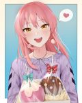 1girl :d =d absurdres bangs black_neckwear blue_bow blush bow bowtie box candy candy_apple candy_wrapper earrings eyebrows_visible_through_hair food gift gift_box heart highres idolmaster idolmaster_cinderella_girls jewelry jougasaki_mika lavender_shirt long_hair long_sleeves lower_teeth open_mouth pink_hair red_bow risu_mikap smile solo speech_bubble striped striped_bow upper_body upper_teeth valentine yellow_eyes