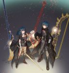 1boy 1girl armor axe black_gloves black_shorts blue_eyes blue_hair bow_(weapon) byleth_(fire_emblem) byleth_(fire_emblem)_(female) byleth_(fire_emblem)_(male) cape closed_mouth drawingddoom envelope fire_emblem fire_emblem:_three_houses gloves highres holding holding_sword holding_weapon navel navel_cutout polearm short_hair short_shorts shorts smile super_smash_bros. sword weapon