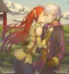 1boy 1girl fire_emblem fire_emblem_awakening kiss outdoors redhead robin_(fire_emblem)_(male) severa_(fire_emblem) twintails white_hair