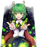 1girl ahoge antennae blue_pants cape carry_me eyebrows_visible_through_hair frilled_sleeves frills green_eyes green_hair light_particles long_sleeves makotono_(makotono_00) open_mouth outstretched_arms pants shirt smile solo star starry_background touhou white_shirt wriggle_nightbug