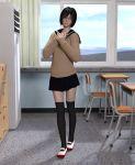 1girl 3d black_hair black_legwear bob_cut jugular lips original school_uniform serafuku short_hair sweater thigh-highs zettai_ryouiki