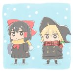 2girls alternate_costume bag black_hair black_headwear black_jacket black_legwear black_skirt blonde_hair blue_background blush bow bright_pupils chibi commentary contemporary cyu_ta full_body green_bow hair_bow hair_tubes hakurei_reimu hat highres jacket kirisame_marisa medium_hair multiple_girls neckerchief o_o plaid plaid_scarf pleated_skirt red_bow red_neckwear red_scarf scarf school_uniform skirt snowing touhou white_footwear white_pupils witch_hat yellow_scarf