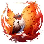 blue_eyes creature fire full_body gen_5_pokemon nasnotte no_humans number pokemon pokemon_(creature) pokemon_number simple_background solo volcarona white_background