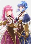 2girls blue_hair braid brown_eyes brown_gloves closed_mouth crown_braid dress fingerless_gloves fire_emblem fire_emblem:_three_houses gloves highres hilda_valentine_goneril long_hair marianne_von_edmund multiple_girls one_eye_closed pink_eyes pink_hair simple_background smile twintails twitter_username white_background yutohiroya
