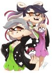 +_+ 2girls alternate_hairstyle aori_(splatoon) artist_name black_hair black_jacket breasts brown_eyes choker company_connection cosplay cousins domino_mask dress earrings fangs gradient_hair green_dress green_hair grey_hair grin hair_ribbon hand_on_hip highres holding holding_poke_ball hotaru_(splatoon) isamu-ki_(yuuki) jacket jewelry long_hair long_sleeves looking_at_viewer mary_(pokemon) mary_(pokemon)_(cosplay) mask medium_breasts medium_hair mole mole_under_eye multicolored_hair multiple_girls open_clothes open_jacket open_mouth pendant pink_dress pink_hair pointy_ears poke_ball pokemon pokemon_(game) pokemon_swsh red_ribbon ribbon sharp_teeth short_dress signature simple_background smile splatoon_(series) splatoon_2 standing teeth tentacle_hair twintails undercut white_background