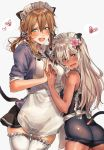1girl 2girls amakaze animal_ears apron aqua_eyes blonde_hair blue_eyes blush breasts cat_ears cat_tail flower frills hair_flower hair_ornament highres kantai_collection large_breasts long_hair looking_at_viewer low_twintails maid maid_apron maid_headdress multiple_girls open_mouth pleated_skirt prinz_eugen_(kantai_collection) ribbon ro-500_(kantai_collection) sailor_collar school_swimsuit simple_background skirt smile swimsuit tail tan thigh-highs twintails white_background white_legwear