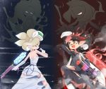 2girls aori_(splatoon) back bare_shoulders black_dress black_gloves black_hair brown_eyes closed_eyes commentary cousins domino_mask dress earrings elbow_on_knee evil_grin evil_smile fang fighting fire flame gloves gradient_hair grey_hair grin gun hairband highres hime_(splatoon) holding holding_gun holding_weapon hotaru_(splatoon) ice iida_(splatoon) jewelry long_dress long_hair mask multicolored_hair multiple_girls open_mouth pointy_ears praying redhead shoulder_blades silhouette smile smoke splat_charger_(splatoon) splat_roller_(splatoon) splatoon_(series) strapless strapless_dress sukeo_(nunswa08) tentacle_hair torn_clothes torn_dress very_long_hair weapon white_dress white_gloves white_hairband