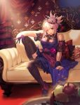 1girl asymmetrical_hair bare_shoulders black_legwear blue_dress blue_eyes breasts commentary crown dress earrings fate/grand_order fate_(series) flower flower_ornament food fruit gloves hair_ornament highres hiro_(hirohiro_gorira) indoors jewelry large_breasts long_hair looking_at_viewer miyamoto_musashi_(fate/grand_order) nail_polish one_eye_closed pink_hair ponytail rose single_glove solo tongue tongue_out