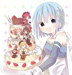 +++ 5girls :d :| ^_^ akemi_homura arms_at_sides bare_shoulders beret black_hair black_hairband black_legwear black_ribbon blonde_hair blue_eyes blue_hair blush blush_stickers boots breasts bubble_skirt cake cape charlotte_(madoka_magica) chibi closed_eyes closed_mouth corset cream creature detached_sleeves dot_nose drill_hair expressionless flat_chest floral_background food fortissimo fortissimo_hair_ornament frills fruit gloves hair_ornament hair_ribbon hairband hairclip happy hat high_ponytail highres holding holding_cake holding_food jitome kaname_madoka knee_boots kono_yo_no_inga_wo_hazureta_mono kyubey legs_together long_hair long_sleeves looking_at_viewer mahou_shoujo_madoka_magica miki_sayaka multicolored multicolored_eyes multiple_girls no_pupils open_mouth pink_hair pink_ribbon plate pocky polka_dot pom_pom_(clothes) ponytail puffy_sleeves red_eyes red_footwear redhead ribbon sakura_kyouko short_hair sideboob simple_background sitting sitting_on_food skirt sleeping small_breasts smile soul_gem strapless strawberry striped striped_legwear tomoe_mami twin_drills twintails upper_body wavy_mouth white_background white_cape white_gloves white_legwear witch_(madoka_magica)