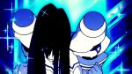 1girl animated animated_gif black_hair blue_eyes breasts kill_la_kill kiryuuin_satsuki large_breasts long_hair lowres school_uniform screencap thick_eyebrows