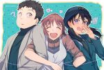 1boy 2girls :d ? black_hair black_neckwear black_sweater blue_headwear blue_jacket brown_hair character_request chiba_(detective_conan) closed_eyes collared_shirt dress_shirt facing_viewer floating_hair grey_jacket hat heart jacket long_hair long_sleeves meitantei_conan miike_naeko monicanc multiple_girls necktie open_mouth police police_hat police_uniform policewoman red_shirt shirt short_hair sleeves_rolled_up smile sweater turtleneck turtleneck_sweater twitter_username uniform wavy_mouth white_shirt wing_collar