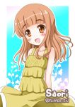 1girl :d arms_behind_back bangs blunt_bangs casual character_name commentary dress eyebrows_visible_through_hair flipper girls_und_panzer long_hair looking_at_viewer open_mouth orange_eyes orange_hair outline smile solo standing sundress takebe_saori twintails white_outline wind wind_lift yellow_dress younger