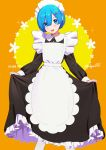 1girl alternate_costume apron artist_name bangs blue_eyes blue_hair blush breasts commentary_request dress eyebrows_visible_through_hair eyes_visible_through_hair flat_chest hair_ornament hair_over_one_eye highres long_dress looking_at_viewer maid maid_headdress open_mouth orange_background poligon_(046) re:zero_kara_hajimeru_isekai_seikatsu rem_(re:zero) ribbon short_hair simple_background smile solo white_apron x_hair_ornament