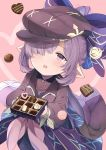 1girl bangs blush bow box_of_chocolates chocolate feff672166 granblue_fantasy hair_bow hair_over_one_eye harvin hat holding nio_(granblue_fantasy) open_mouth pointy_ears ponytail purple_hair red_eyes solo