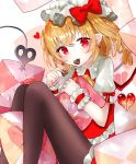 1girl bangs black_legwear blonde_hair blush candy chocolate chocolate_heart commentary earrings eyebrows_visible_through_hair flandre_scarlet food food_in_mouth hat head_tilt heart holding holding_pillow jewelry laevatein looking_at_viewer mob_cap one_side_up pantyhose pillow pointy_ears puffy_short_sleeves puffy_sleeves red_eyes red_skirt red_vest sakipsakip shirt short_hair short_sleeves simple_background sitting skirt smile solo touhou twitter_username valentine vest white_background white_legwear white_shirt wrist_cuffs