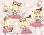 2girls artist_logo back_bow black_shirt black_skirt blonde_hair blue_eyes bow bowtie chibi closed_eyes eighth_note fairy_wings flower hair_bow hair_ribbon holding holding_flower holding_umbrella holding_watering_can lily_of_the_valley looking_at_viewer medicine_melancholy multiple_girls multiple_views musical_note notice_lines one_eye_closed open_mouth pink_background pink_bow pink_umbrella puffy_short_sleeves puffy_sleeves red_bow red_footwear red_neckwear red_ribbon red_shirt red_skirt ribbon shirt short_hair short_sleeves skirt smile su-san touhou umbrella watering_can wings yoshishi_(yosisitoho)