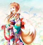 1girl animal_ears brown_hair floral_print fudo_shin highres holo japanese_clothes kimono long_hair obi orange_hair print_kimono red_eyes red_kimono sash spice_and_wolf tail wolf_ears wolf_girl wolf_tail yukata