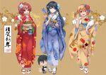 373012201 3girls blue_kimono floral_print flower geta japanese_clothes kimono multiple_girls new_year obi print_kimono red_kimono sash tabi yahari_ore_no_seishun_lovecome_wa_machigatteiru. yukata