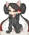 1girl animal_ears aori_(splatoon) black_hair black_shirt casual cat_ears closed_eyes closed_mouth commentary domino_mask earrings facing_viewer fake_animal_ears frown gradient_hair grey_shorts highres hood hood_down hoodie jewelry leaning_forward long_hair mask mole mole_under_eye multicolored_hair pointy_ears redhead shirt short_shorts shorts simple_background sleeves_past_fingers sleeves_past_wrists smile solo splatoon_(series) standing sukeo_(nunswa08) tentacle_hair very_long_hair white_background