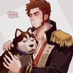 1boy bara beard blank_speech_bubble blue_eyes blush brown_hair chest dog epaulettes facial_hair fate/grand_order fate_(series) long_sleeves male_focus military military_uniform napoleon_bonaparte_(fate/grand_order) niangaoxianyu open_clothes pectorals simple_background smile solo speech_bubble uniform