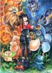 1girl acrylic_paint_(medium) black_hair black_legwear breasts cellphone female_protagonist_(pokemon_go) gen_1_pokemon gen_7_pokemon grey_eyes growlithe hat holding holding_phone legendary_pokemon litten long_hair lunala mosho pantyhose phone pokemon pokemon_(creature) pokemon_(game) pokemon_go ponytail popplio rowlet sidelocks sky small_breasts solgaleo star_(sky) starry_sky traditional_media