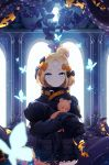 1girl abigail_williams_(fate/grand_order) absurdres backlighting bandaid_on_forehead bangs black_bow black_jacket blonde_hair blue_eyes blush bow breasts bug butterfly closed_mouth crossed_bandaids fate/grand_order fate_(series) forehead hair_bow hair_bun heroic_spirit_traveling_outfit high_collar highres holding holding_stuffed_animal insect jacket keyhole long_hair long_sleeves looking_at_viewer multiple_bows object_hug oni22 orange_belt orange_bow parted_bangs polka_dot polka_dot_bow sleeves_past_fingers sleeves_past_wrists smile solo stuffed_animal stuffed_toy teddy_bear tentacles