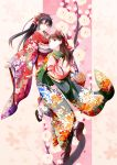 2girls black_hair floral_print flower fudo_shin graphite_(medium) highres japanese_clothes kimono long_hair mechanical_pencil multiple_girls original pale_skin pencil plum plum_blossoms traditional_media