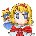1girl alice_margatroid avatar_icon blonde_hair blue_dress blue_eyes bow bowtie button_eyes chamaji commentary doll dress eyebrows_visible_through_hair frilled_hairband frills hair_between_eyes hair_bow hairband looking_at_viewer lowres red_bow red_hairband red_neckwear sash shanghai_doll short_hair signature simple_background star star-shaped_pupils symbol-shaped_pupils touhou upper_body