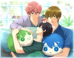 3boys :d black_hair character_doll couch free! green_eyes hazuki_nagisa highres lying male_focus multiple_boys nanase_haruka_(free!) on_back on_couch open_mouth pillow pink_hair ryuugazaki_rei shigino_kisumi sitting sleeping smile tachibana_makoto violet_eyes