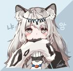 1girl animal_ear_fluff animal_ears arknights bangs biting blue_background braid english_commentary eyebrows_visible_through_hair grey_eyes grey_hair headpiece jewelry leopard_ears leopard_tail long_hair looking_at_viewer necklace pramanix_(arknights) signature solo tail tail_biting tiasye turtleneck twin_braids two-tone_background upper_body