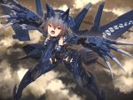 1girl ace_combat aircraft airplane armor bangs blurry blurry_background bodysuit breasts claw_(weapon) clouds commentary_request eyebrows_visible_through_hair flying gaf-1 golden_gate_bridge grey_hair hair_between_eyes headgear highres machinery mecha_musume mechanical_wings missile open_mouth personification short_hair solo tom-neko_(zamudo_akiyuki) tongue weapon wings yellow_eyes