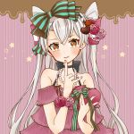 1girl alternate_costume amatsukaze_(kantai_collection) bow box brown_eyes cocoperino dress flower hair_bow hair_flower hair_ornament heart index_finger_raised jewelry kantai_collection long_hair looking_at_viewer necklace pearl_necklace pink_dress rose silver_hair solo striped striped_background tongue tongue_out two_side_up upper_body