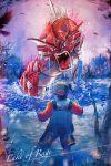 1boy alternate_color creature eye_contact gen_1_pokemon gold_(pokemon) gyarados highres lake_of_rage looking_at_another male_focus mu_acrt pokemon pokemon_(creature) pokemon_(game) pokemon_gsc shiny_pokemon standing