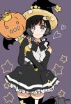 1girl :3 araragi_tsukihi bangs bat_wings black_bow black_dress black_eyes black_footwear black_gloves black_hair black_headwear black_legwear blush bob_cut boots bow bowtie commentary crown determined doyagao dress egg_hair_ornament elbow_gloves fingerless_gloves food_themed_hair_ornament fried_egg frilled_dress frills furrowed_eyebrows gloves hair_ornament halloween halloween_costume hat heart high_heel_boots high_heels highres jack-o'-lantern leg_up light_smile monogatari_(series) monogatari_series_puc_puc pumpkin purple_background scepter short_hair solo star thigh-highs valhalla0707 wings witch_hat zettai_ryouiki