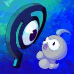 :o black_eyes blue_background castform commentary creature english_commentary eye_contact floating full_body gen_2_pokemon gen_3_pokemon gradient gradient_background highres looking_at_another mopomoko no_humans pokemon pokemon_(creature) single_eye unown