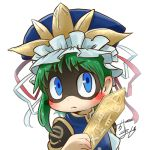 1girl asymmetrical_hair avatar_icon blue_eyes blush_stickers bow chamaji commentary_request epaulettes eyebrows_visible_through_hair green_hair hat hat_ribbon holding long_sleeves looking_at_viewer lowres ribbon ribbon_trim rod_of_remorse shaded_face shiki_eiki short_hair signature solo touhou upper_body vest