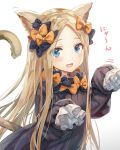 1girl abigail_williams_(fate/grand_order) animal_ears bangs black_bow black_dress blonde_hair blue_eyes blush bow breasts cat_day cat_ears cat_tail dress fate/grand_order fate_(series) forehead hair_bow highres long_hair long_sleeves looking_at_viewer multiple_bows open_mouth orange_bow parted_bangs paw_pose polka_dot polka_dot_bow ribbed_dress simple_background sleeves_past_fingers sleeves_past_wrists small_breasts smile solo tail torino_akua white_background